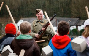 St Erth Community Primary taking part in a WW2 Home Guard drill