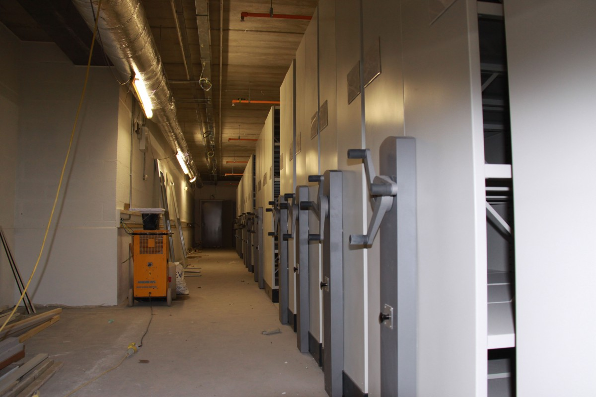 Roller racking in the new archive space