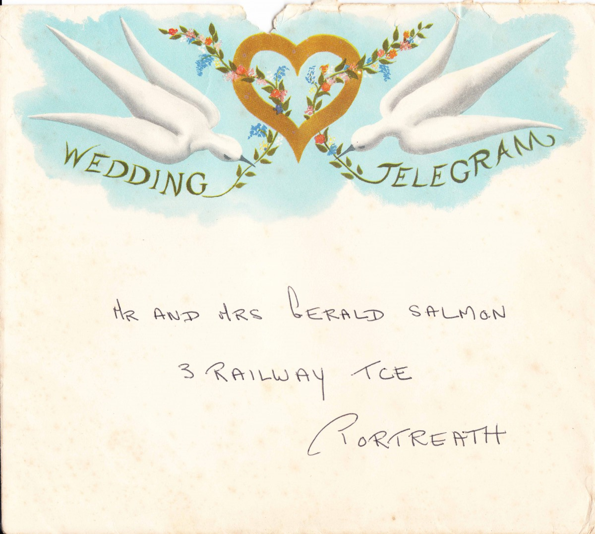 Decorative envelope from donated telegram