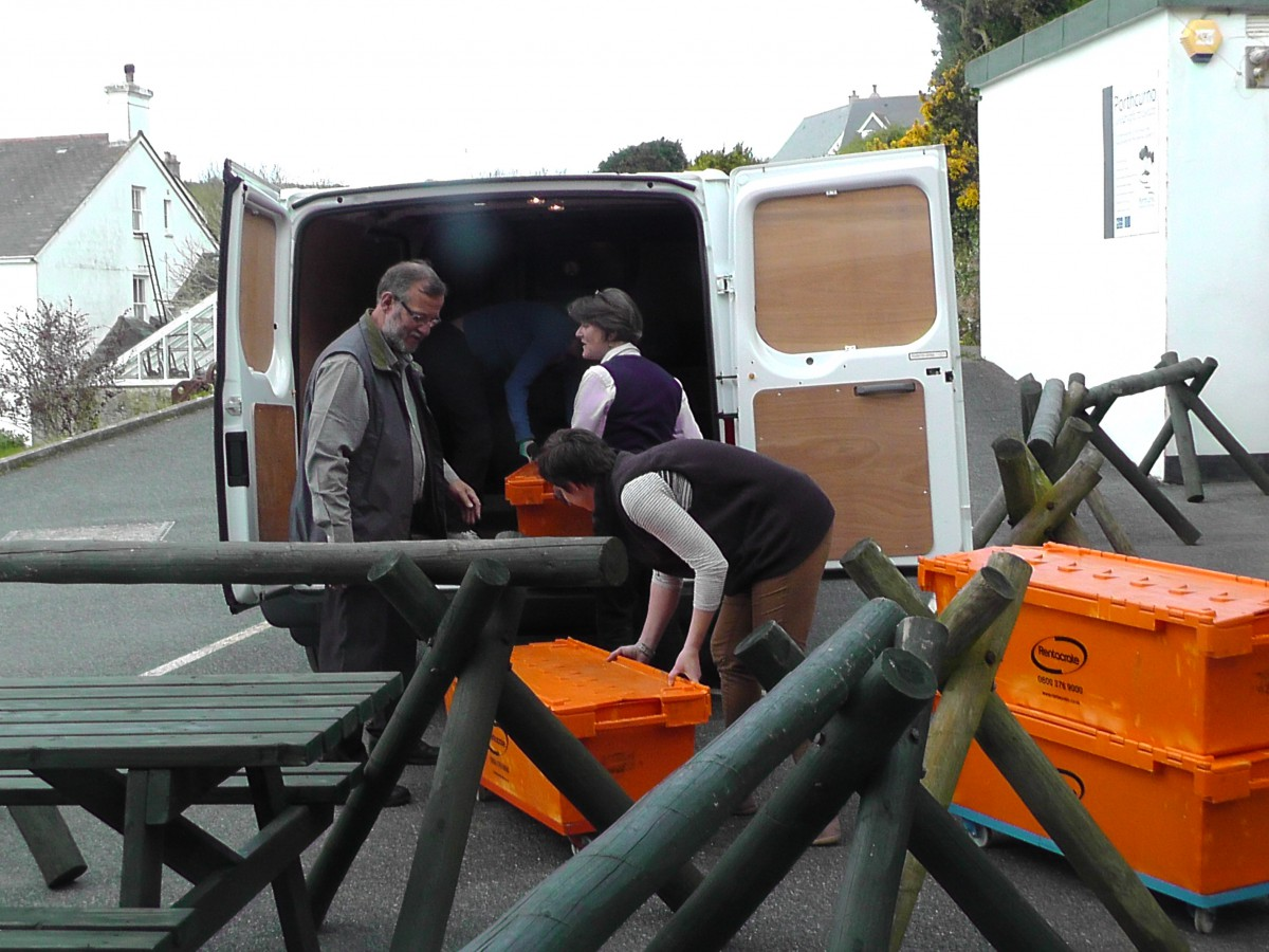 May 2013 - Staff and volunteers lend a hand to fill crates full of Archive material
