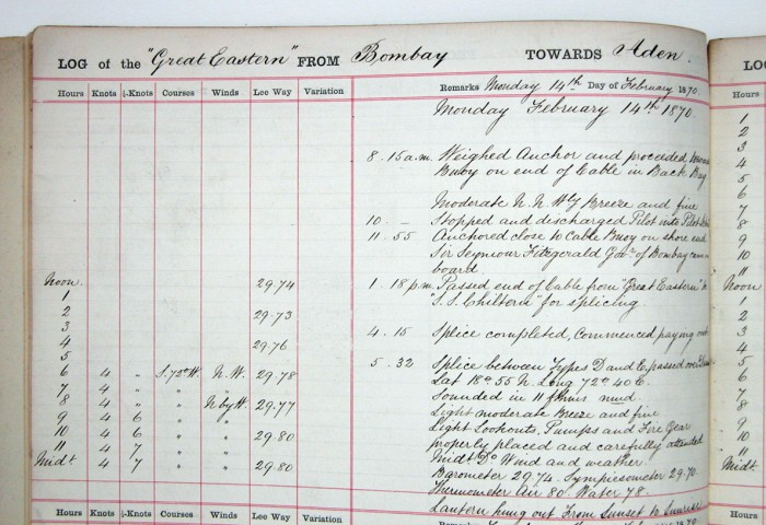 'Great Eastern' log book