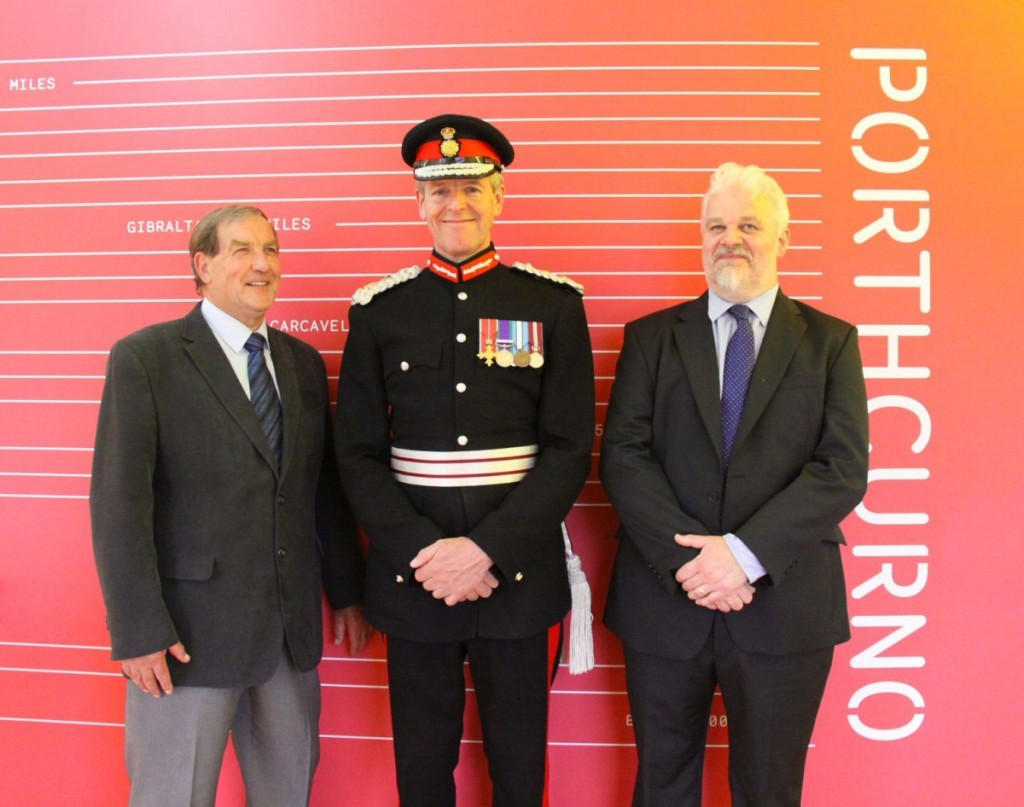 Lord Lieutenant of Cornwall congratulates Telegraph Museum development team.