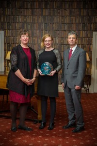 Larissa Paver (L) Rachel Webster (C) and Steve Bladon receive a gold award at the Cornwall Tourism Awards in November 2014