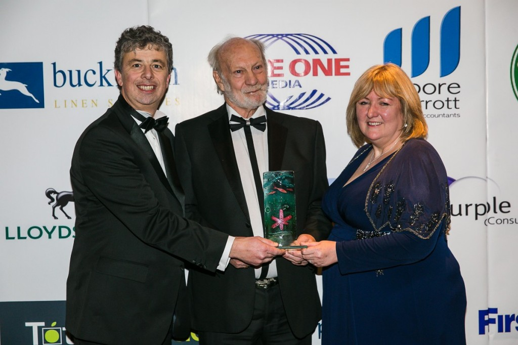 Steve Bladon, Visitor Services Manager (L) and Pete Johnson, museum volunteer & trustee accept the Silver tourism award.