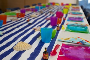 A table set ready for a children's party