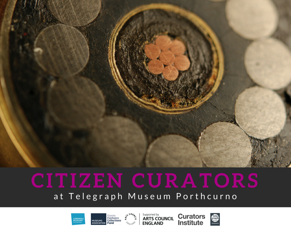 Picture advertising the Citizen Curator's volunteering opportunity at the Telegraph Museum Porthcurno, with a close up picture of a the insides of telegraph cable, with metal core and gutta percha insulation.