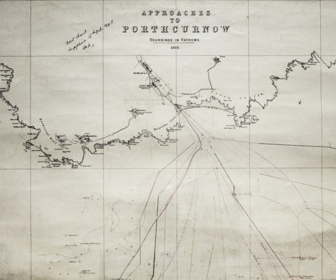Map dated 1919 showing Porthcurno area and depths for landing undersea cables.