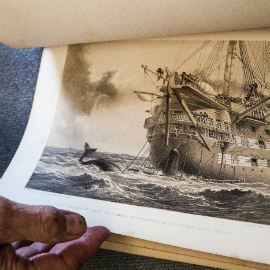 Image taken from Points of Presence by artist Steve Rowell, showing a close up view of an old printed document with an illustration of a galley, rough seas and the tail of a whale.