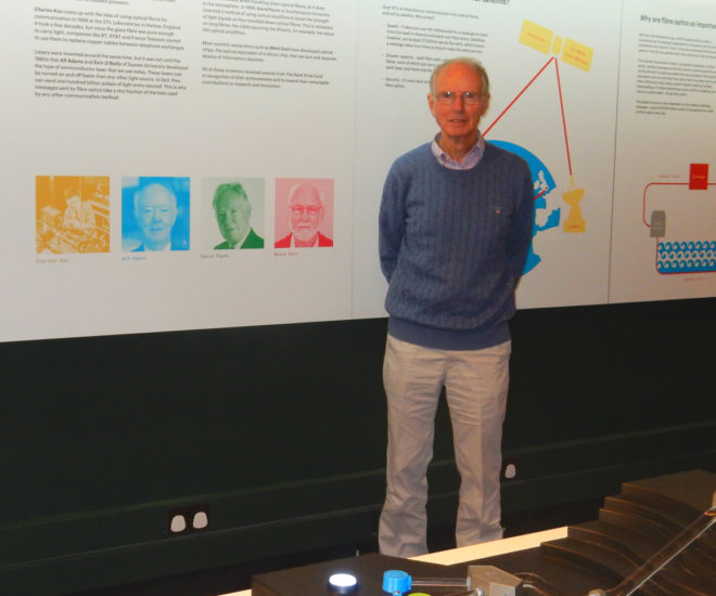 The photograph shows Peter in our new fibre optic gallery with images of his colleague Charles Kao and other inventors in the background.