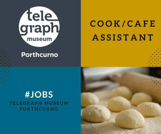 Composite graphic advert for Cook/Cafe Assistant post at the museum, with museum logo and baking photo in blue, grey and mustard.