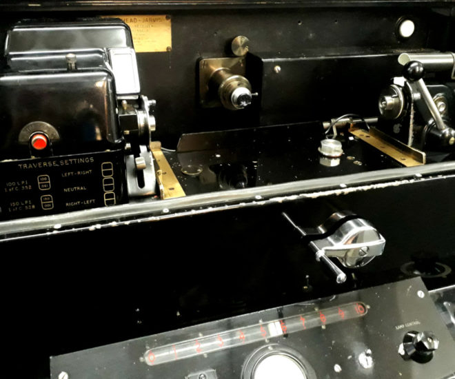 Close up view of Photo-telegraphy reciever, with photographic equipment for exposing a roll of photo paper, with a black glossy surface.