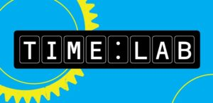 Graphic design logo with bright blue background and simplified yellow cogs with title Time Lab written as if it were a digital clock.