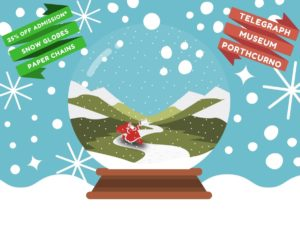 Picture with graphic designed snow globe and Father Christmas in the snow, with details of STEAM and craft activities and tintype photography.