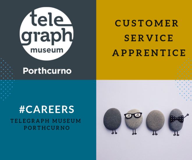 Graphic advert for Customer Service Practitioner at Telegraph Museum Porthcurno with logo and cute photo of pebbles as people.