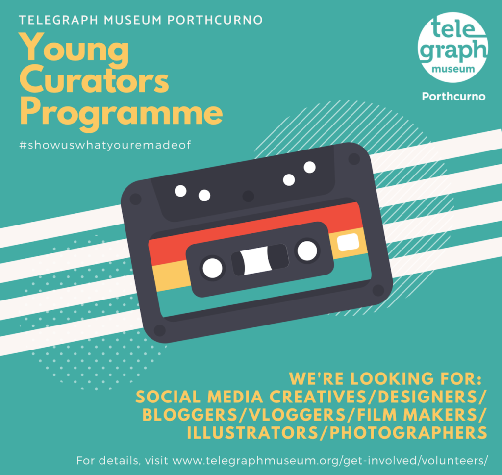 Green background with cassette tape design featuring information and yellow text about an exciting Young Curators Programme for under 24s in creative and digital skills.