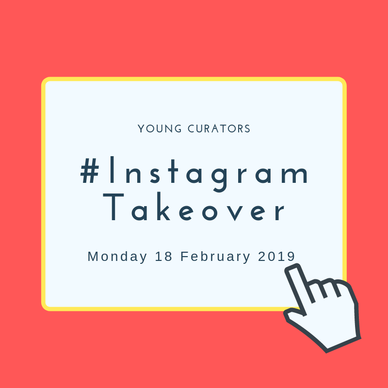 Graphic design featuring text which reads, #YoungCurators Instagram Takeover Day with mouse cursor that looks like a hand. Background colour is coral pink with yellow ban around text box.