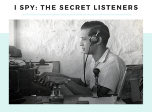 Photograph of Mr D Bradbury, Aden 1949 with wireless listening equipment to promote new exhibition I Spy: The Secret Listeners at Telegraph Museum Porthcurno.