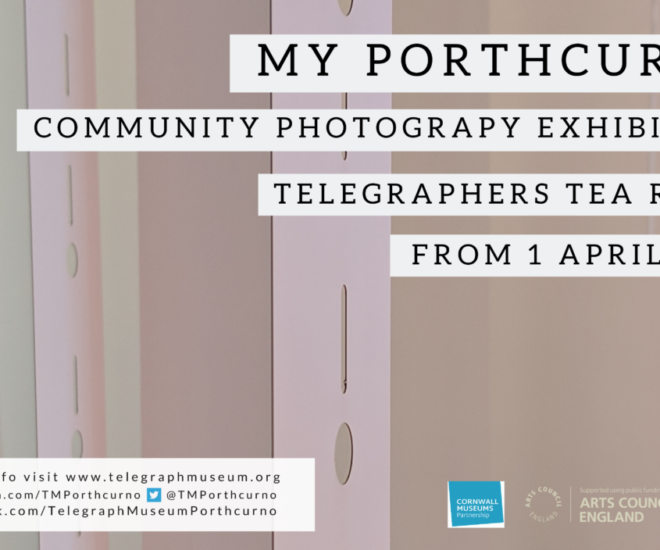 Photograph of art installation at Telegraph Museum Porthcurno consisting of messages to family and friends on large pieces of telegraphy slip, with information about My Porthcurno, community photography exhibition 2019.