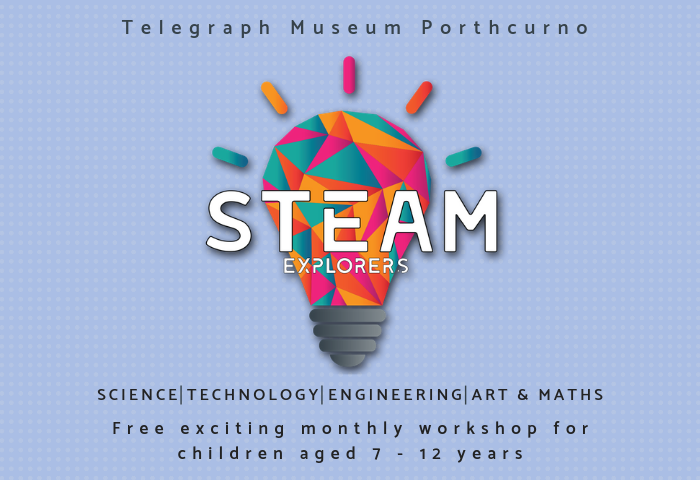 Blue background with white geometric patterns and multicolour lightbulb with white text which reads STEAM Explorers free monthly club for 7 to 12 year olds.