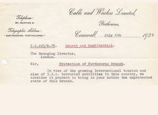 Going Underground new exhibition for 2019 at the Telegraph Museum Porthcurno, showing a digitised image of archive source, letter dated July 6th 1939 on the subject of protecting the Telegraph Station from World War Two threats.