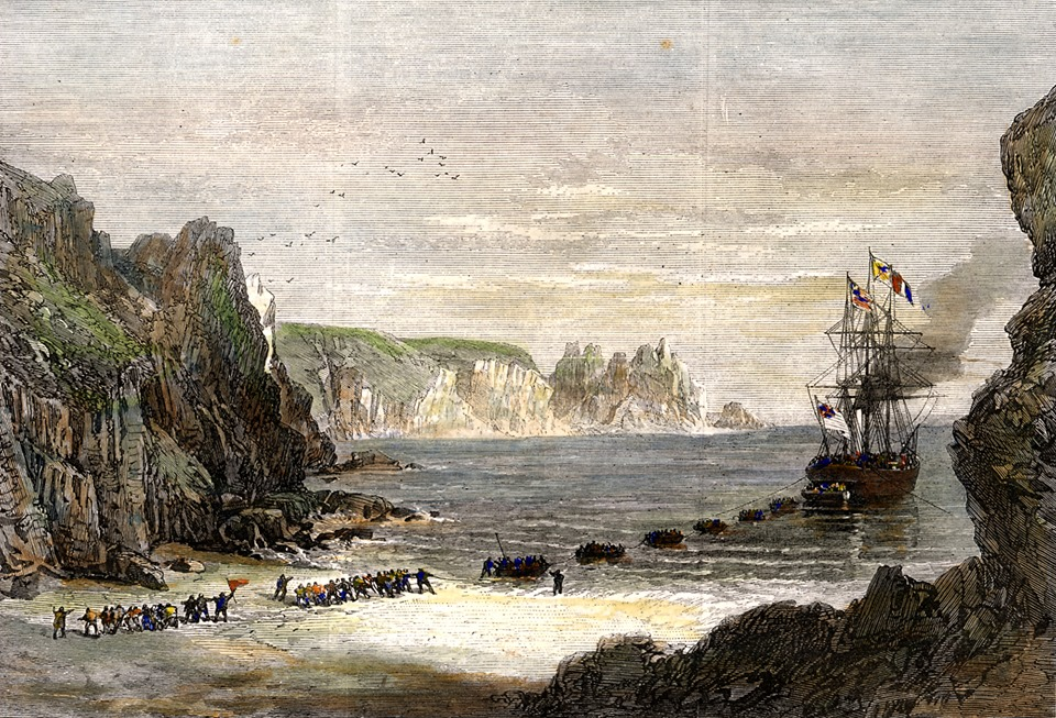 Colour illustration showing landing of telegraph cable on Porthcurno beach, Telegraph station in Porthcurno Cornwall.