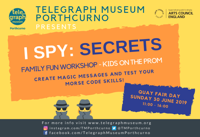 Brightly coloured flyer giving details for I Spy: Secrets Family Fun Workshop being held at Quay Fair Day, Sunday 30 June 2019 at Golowan Festival in Penzance.
