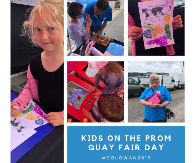 Combination of smaller photographs showing museum staff at Quay Fair Day, Golowan 2019.