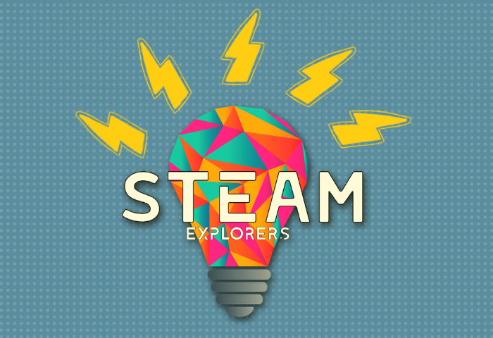Graphic illustration showing multicoloured light bulb with bright electric sparks emanating from the top, with the text Steam Explorers, a Telegraph Museum Porthcurno Saturday group for children ages 7 to 12, focusing on Science, Technology, Engineering, Art and Maths.