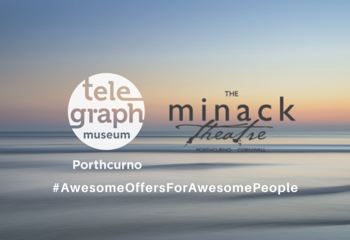 Image of beach sunset with logos for Telegraph Museum Porthcurno, Cornwall and Minack Theatre Porthcurno, Cornwall, illustrating offer of 20% discount on museum entry for visitors with Minack tickets, with hashtag which reads awesome offers for awesome people written as # AwesomeOffersForAwesomePeople