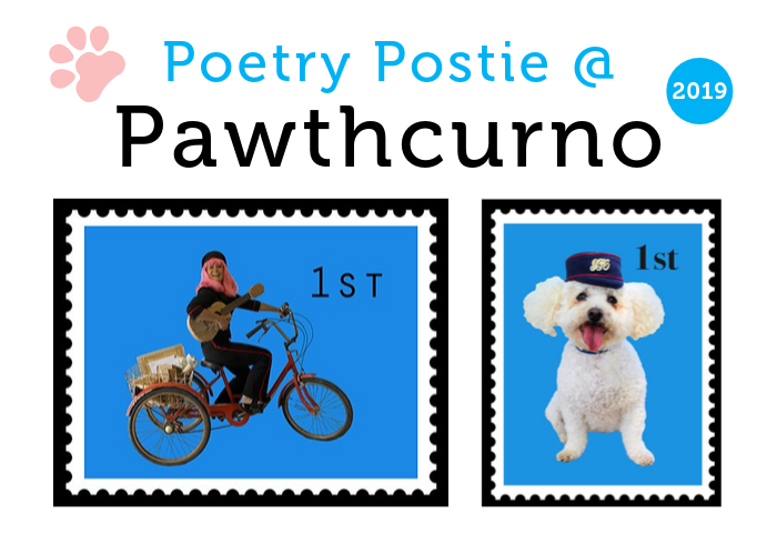 Image with white background and postal stamps showing Sally Crabtree the poetry postie and a dog in a postal hat, with text that reads Pawthcurno 2019, a dog friendly event held 12 13 October at the Telegraph Museum Porthcurno.