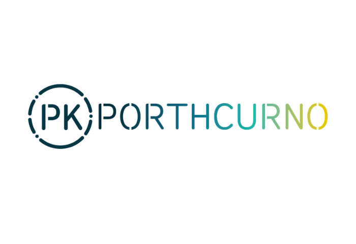 Navy and gold gradient graphic logo showing the letters P and K surrounded by Morse code letters, arranged in a circle, followed by the word Porthcurno, which is the new logo for PK Porthcurno the museum of global communications, previously the Telegraph Museum Porthcurno.