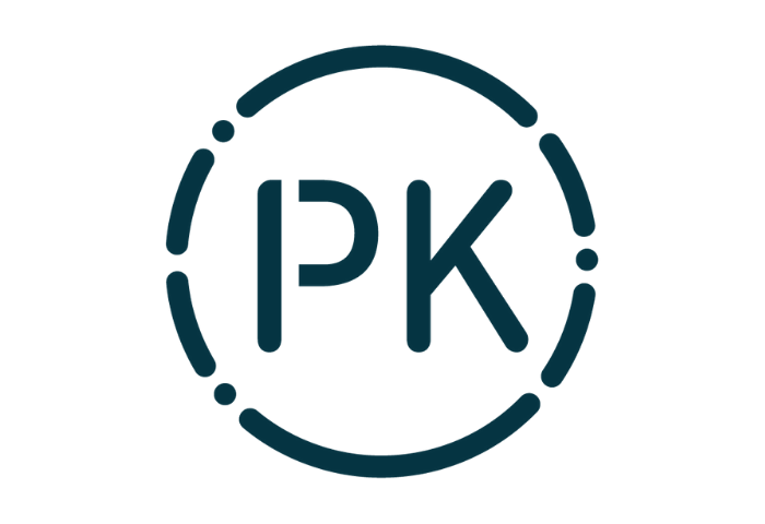 Navy graphic logo showing the letters P and K surrounded by Morse code letters, arranged in a circle, which is the new logo for PK Porthcurno the museum of global communications, previously the Telegraph Museum Porthcurno.