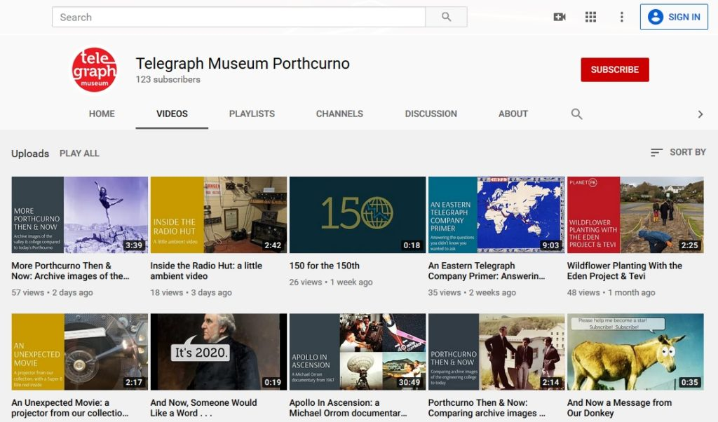 Image of PK Porthcurno YouTube page with videos