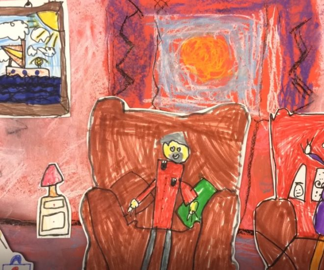Child's colour drawing of child in sitting room with two elderly people